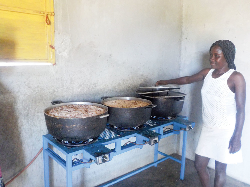 Our Haitian cooks will prepare 57 tons of pinto beans during the year to be served with lunch.