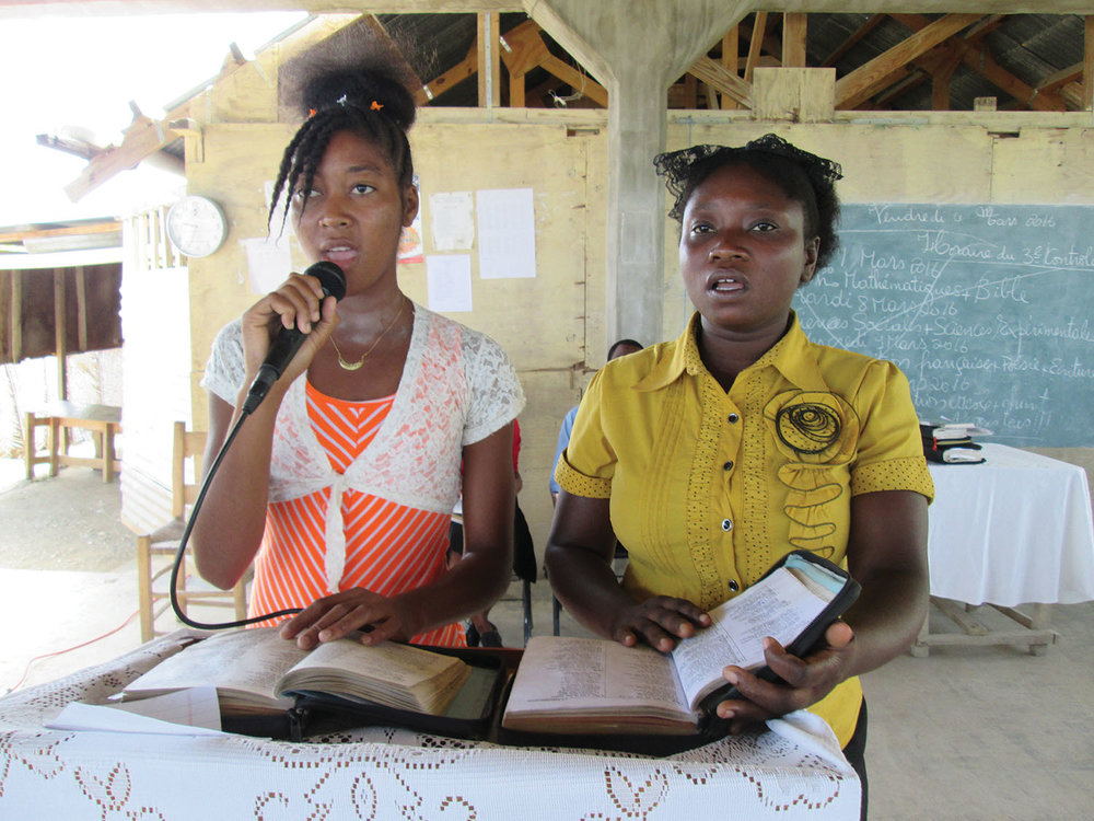 Two students from our school in Ti-Boucan led a Bible reading during chapel service.