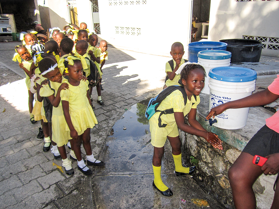 Prior to lunchtime at school, our students wash their hands to promote good hygiene.