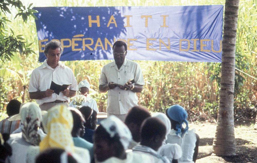 Our first church in Haiti, 1983, Neply, Bord-Mer displayed the banner, Haiti: Hope in God.