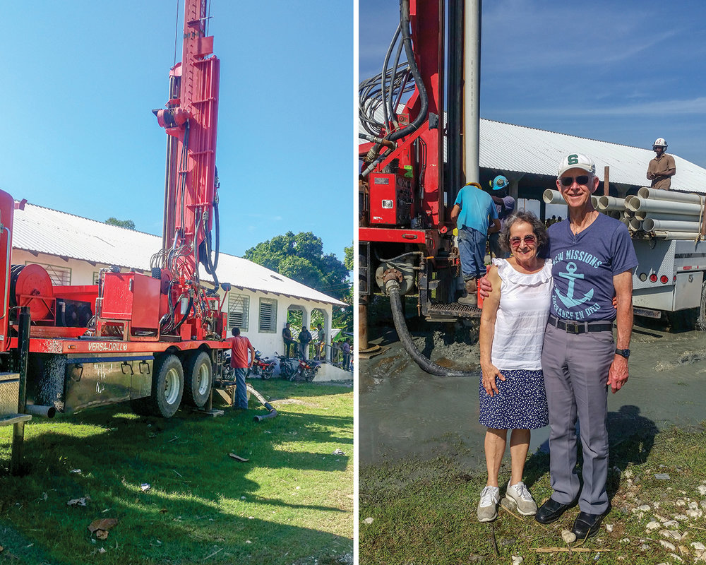 We were blessed with a new well at our Bire church, school, and medical clinic campus.  Jeanne and Ted Loudon enjoyed being in Haiti while all three of the wells were being drilled.