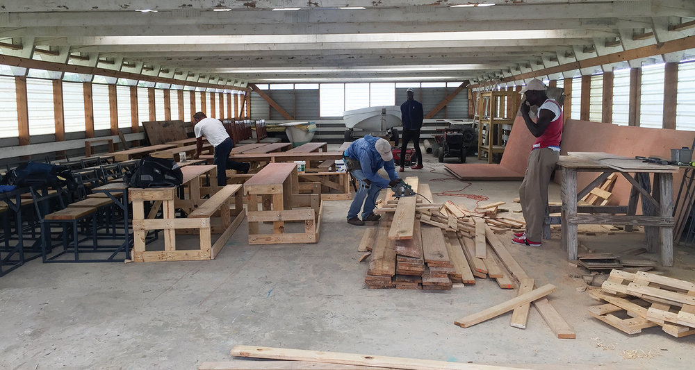 Employing Haitians to build desks supports the local economy. Classroom desks are 100% made at our mission in Haiti.