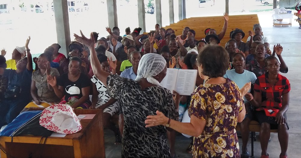 Our school cooks gathered for a special seminar with Jeanne DeTellis at our Signeau High School campus in Haiti.