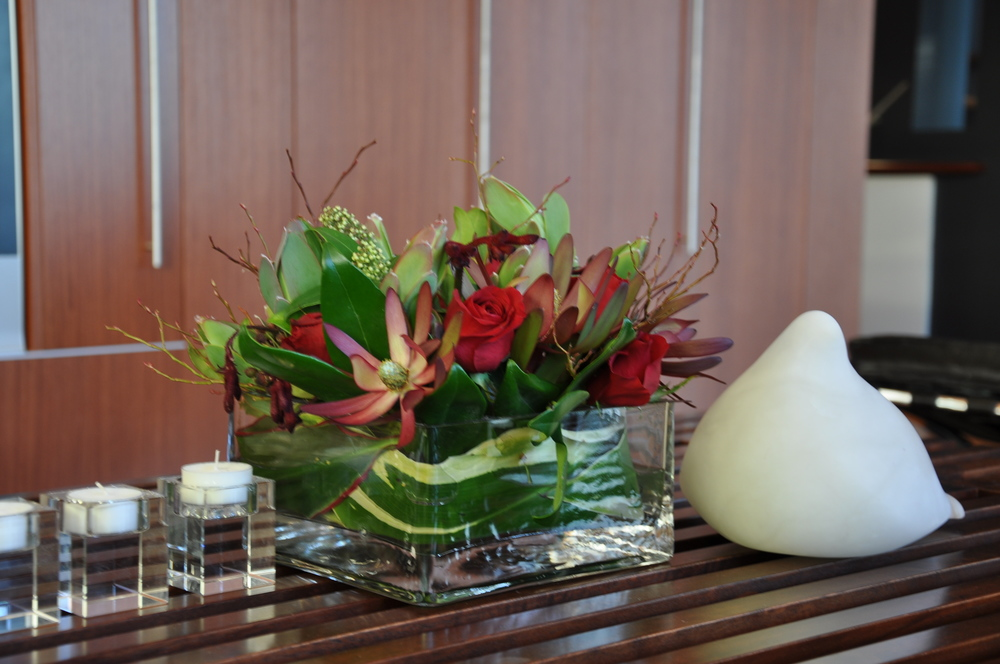 The floral provides a centerpiece for the hub of the home