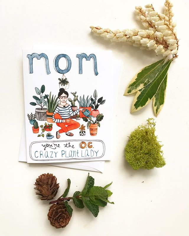 """Gearing up for Mother's Day! This card is finally up in the shop (link in bio). But this would make for a great """"any day"""" card as well. Give some props to the green thumb moms out there, making this world a healthier place one plant at a time. 🍃🌿💚"""