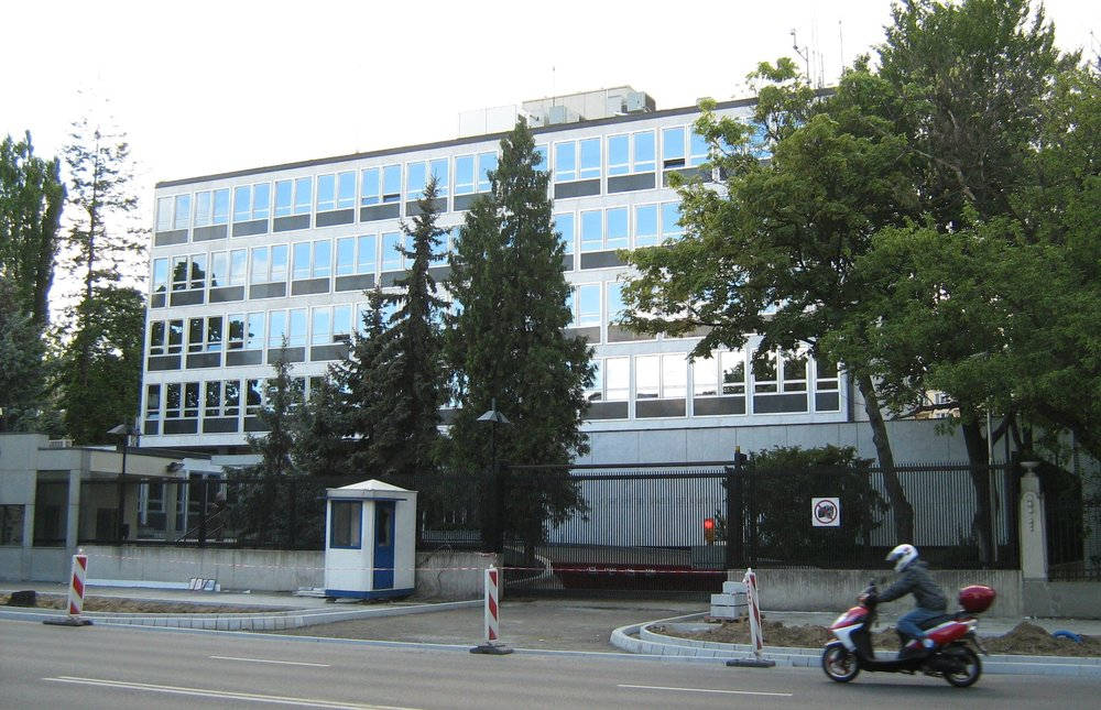 Cold War era photo,  American Embassy Warsaw, Poland