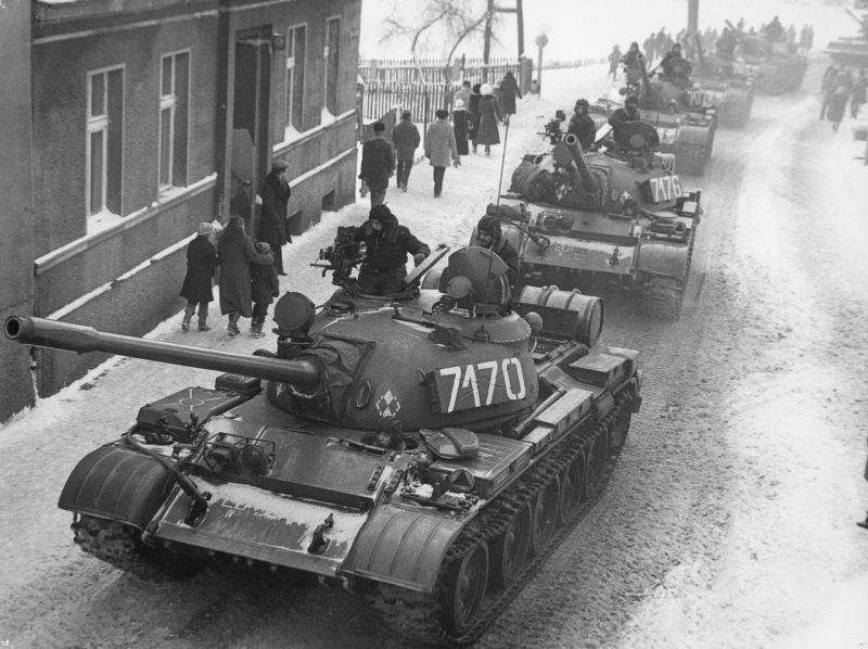 T-55A on the streets during Martial law in Poland J. Żołnierkiewicz