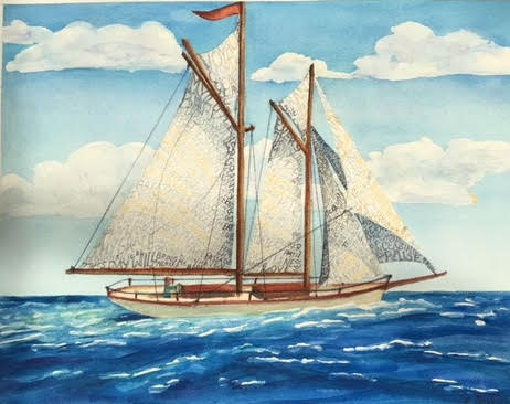 By looking closely, you can see how Beth painted the words from the prayer across the billowing sails.