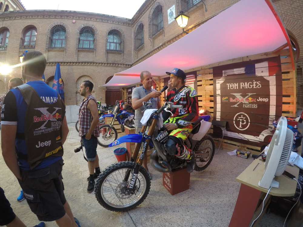 Thomas Pages getting interviewed at RedBull X Fighters Madrid
