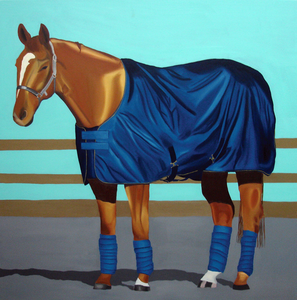 Blue Horse, oil on canvas <br> 130 x 130 cm, 2010