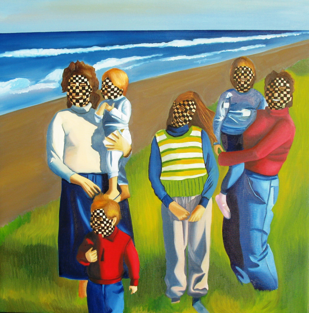 Checkered Family <br> oil on canvas <br> 70 x 80 cm,2011