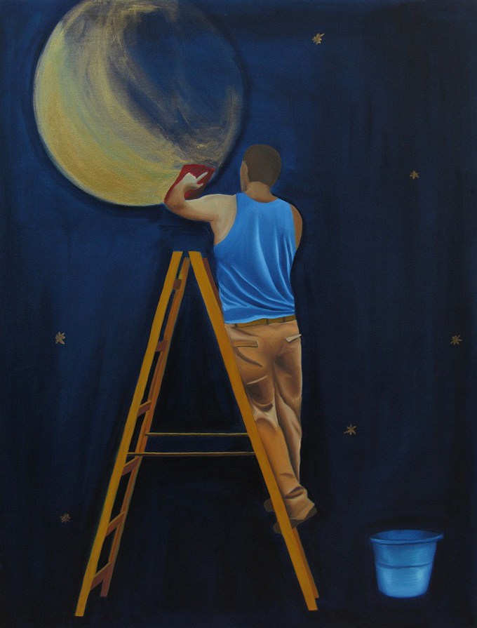 Man Shining The Moon <br> Oil on canvas <br> 70 x 100 cm,2010