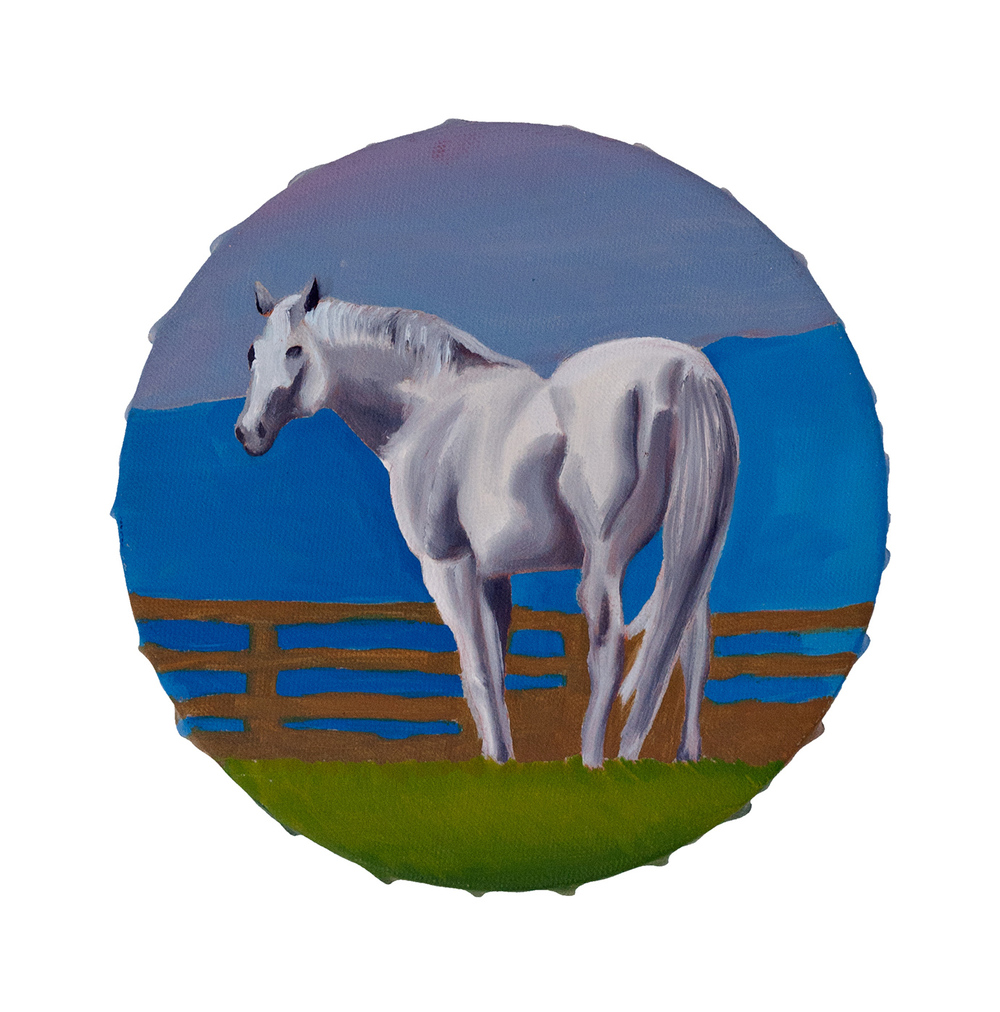 White Horse, oil on canvas <br> 20 x 20 cm, 2010