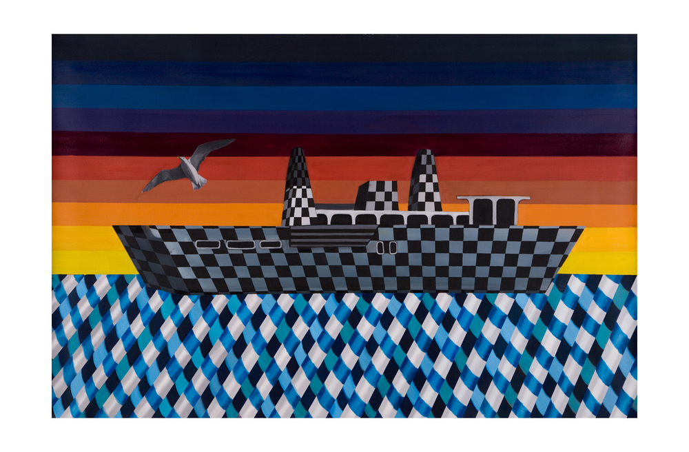 Checkered Ship, oil on canvas, <br> 80 x 120 cm, 2010