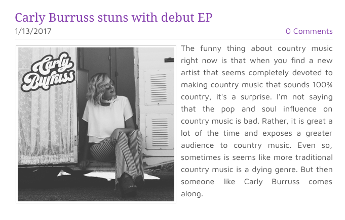 Click the picture + check out Queens of Country's review of Carly's debut EP!