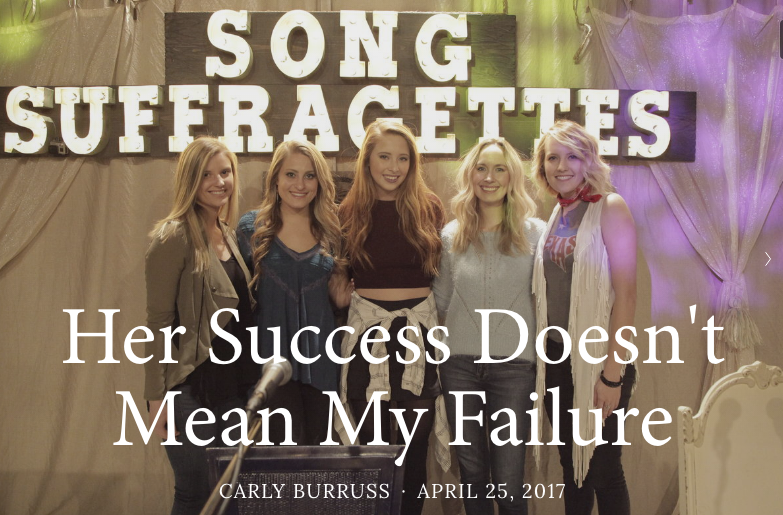 "Click here to check out Carly's blog post on jealousy featured on Song Suffragette's ""Let the Girls Blog"" site!"