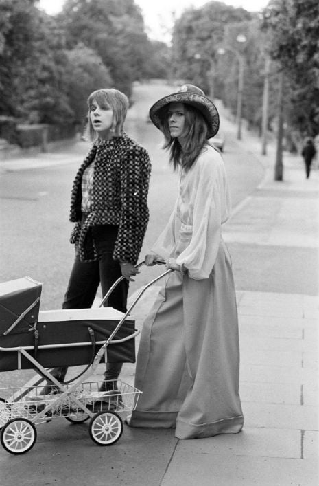 Classic photo: David and Angie Bowie taking their then 3-week-old baby Zowie for a walk, 1971