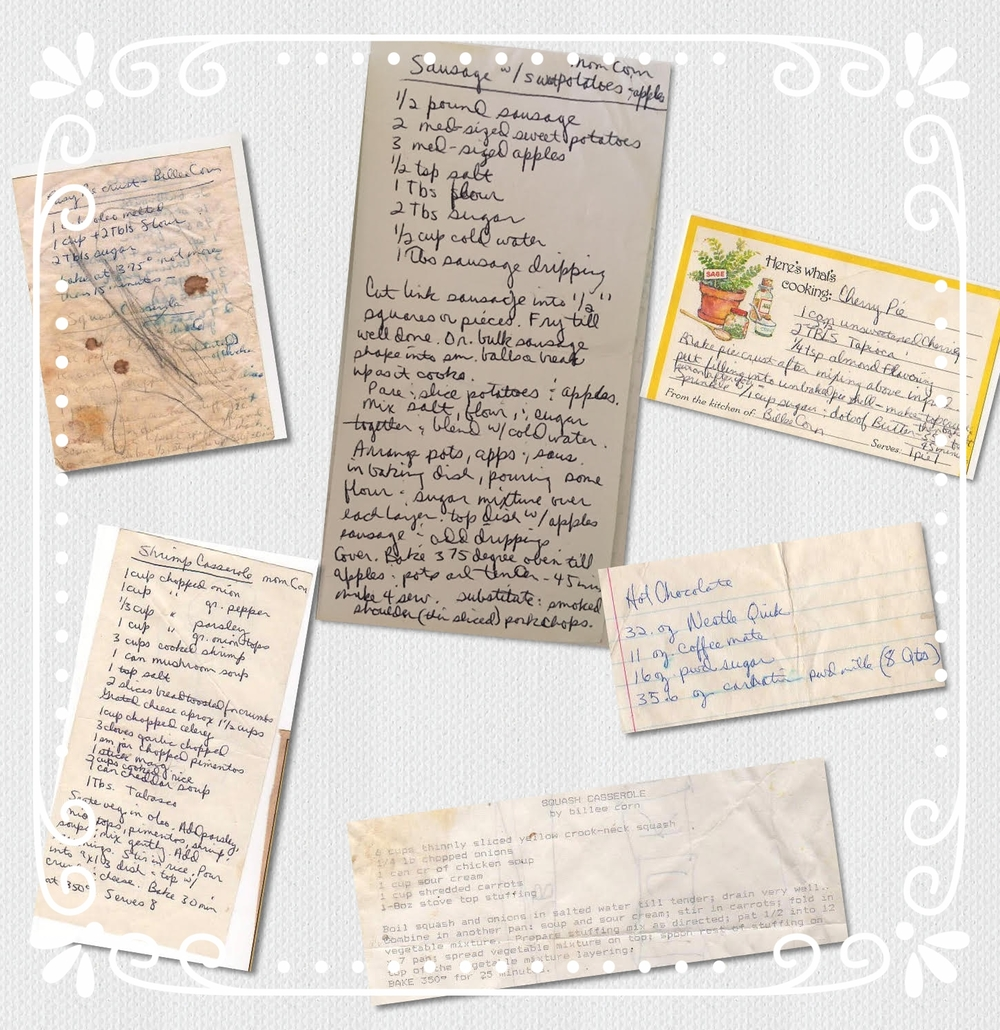 An array of Billee's handwritten recipes—well-loved and well-used, all!