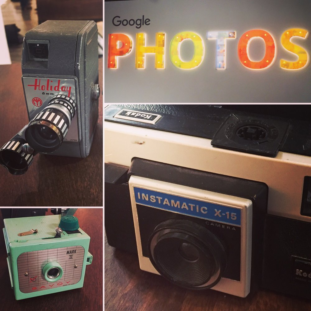 There were various vintage cameras around the demo areas at Google's recent press event. Remember those cube-shaped flash bulbs for the Kodak Instamatic?