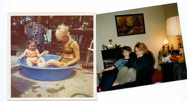 My mom interacting in everyday ways with my cousin Kim (left) in the Seventies, and my brother in the Eighties.