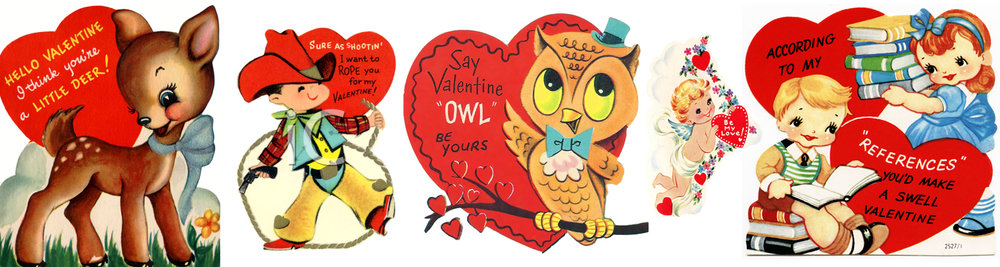 vintage children's valentines with puns and love sentiments