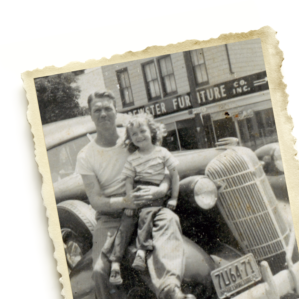 vintage family photo of father and daughter in fifties