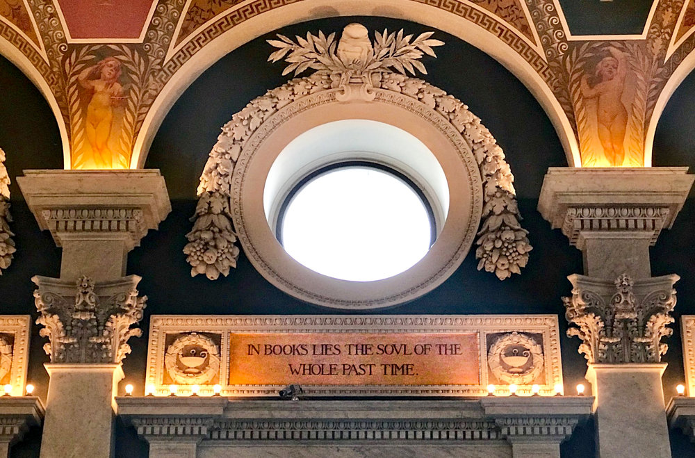 "During a weekend trip to our nation's capital, I escaped the oppressive heat in the Library of Congress and found inspiration at every turn. The next line of this quote from Thomas Carlyle reads: ""the articulate audible voice of the past."" Indeed."
