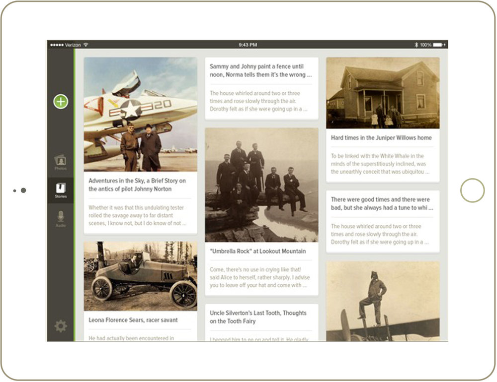 The Family Search Memories app displays stories in a gallery view, as shown, or in a list view to make finding specific entries easier.