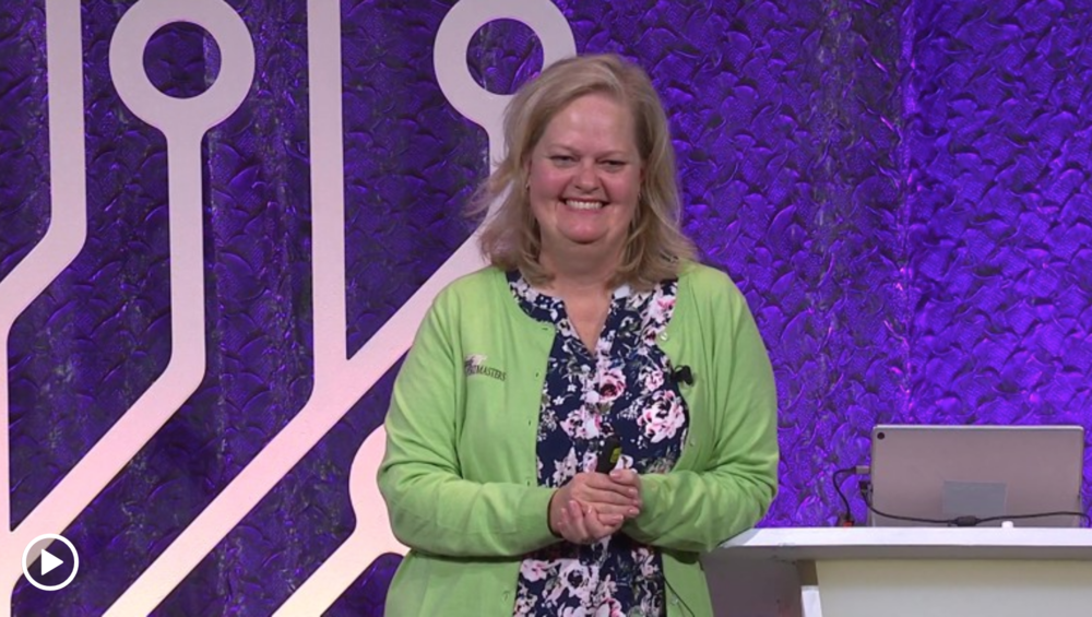 Genealogy coach Janet Hovorka speaking at RootsTech 2019.