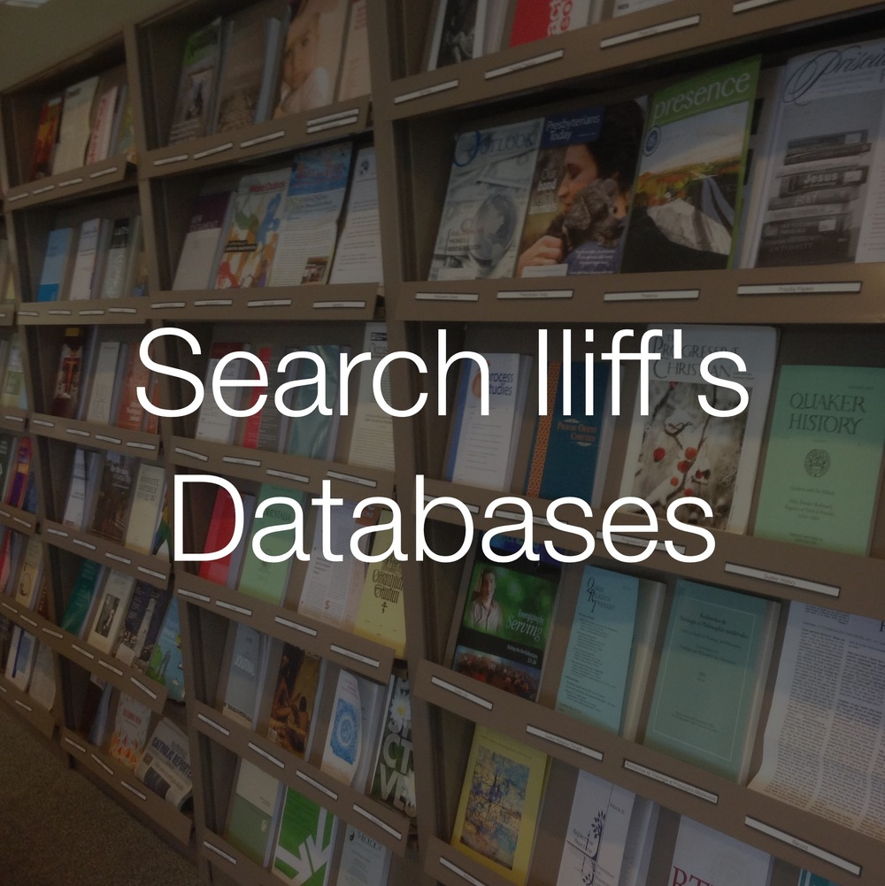 Find articles and data focused on religion, theology, pastoral care in Iliff's electronic resources