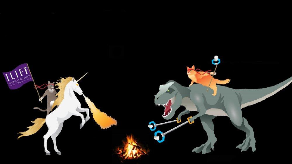 For Desktop 1920 x 1080 Ninja Cats, Unicorn and T-Rex by Jason Whitehead