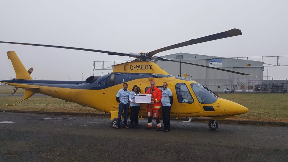 Rakesh Trust, all had completed the Ben Nevis climb last September and have again raised £8,000 for air ambulance.   Please see photo of the cheque being presented in January.