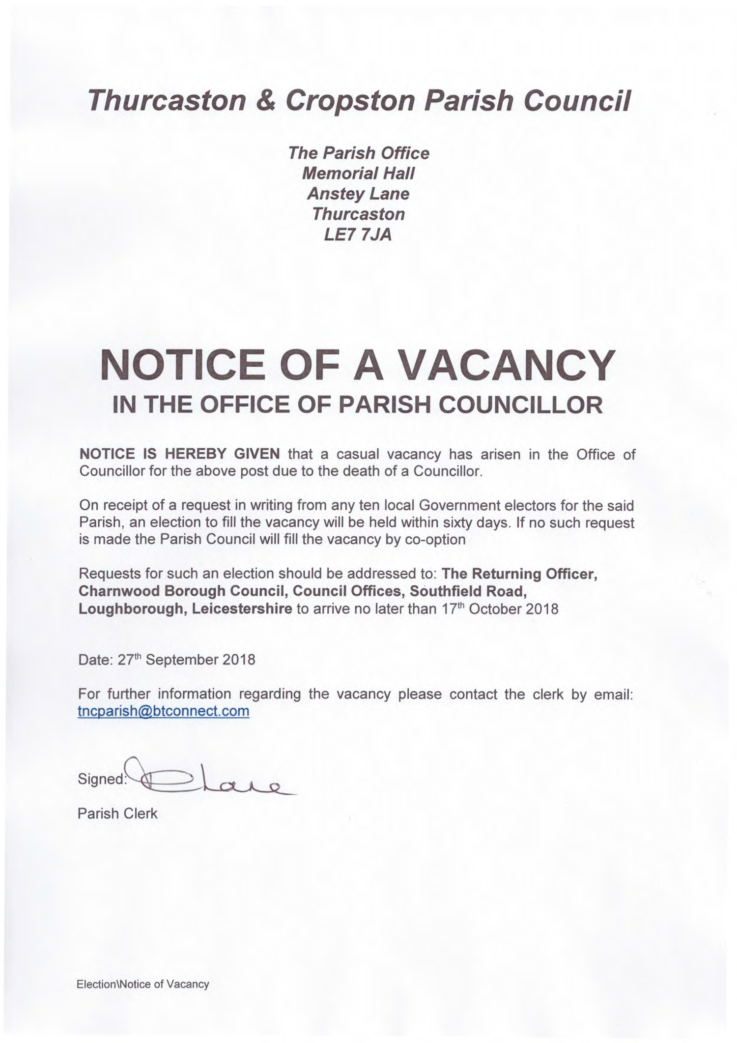 NOTICE OF VACANCY IN THE OFFICE OF PARISH COUNCILLOR — Thurcaston