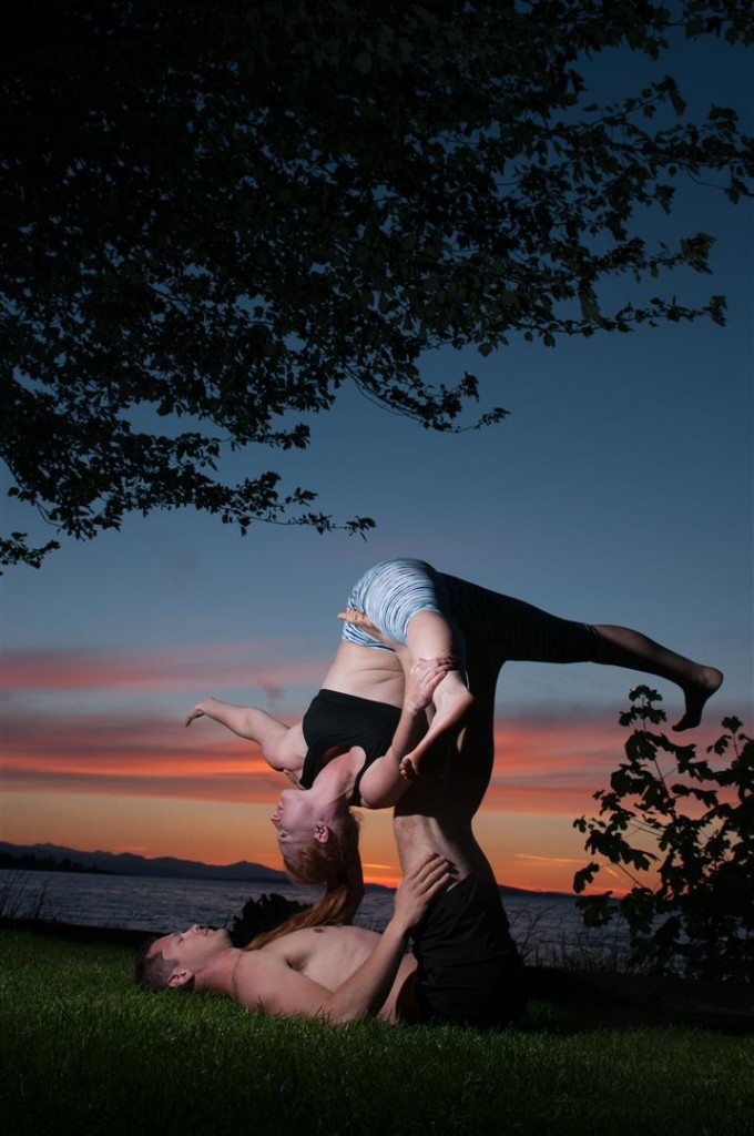 sunset couples yoga