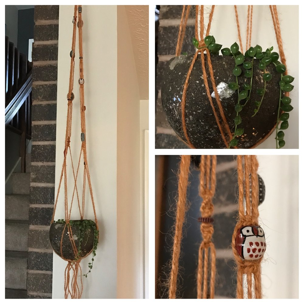 "4"" Hypertufa sphere planter in jute macramé plant hanger w/ glass owl beads."