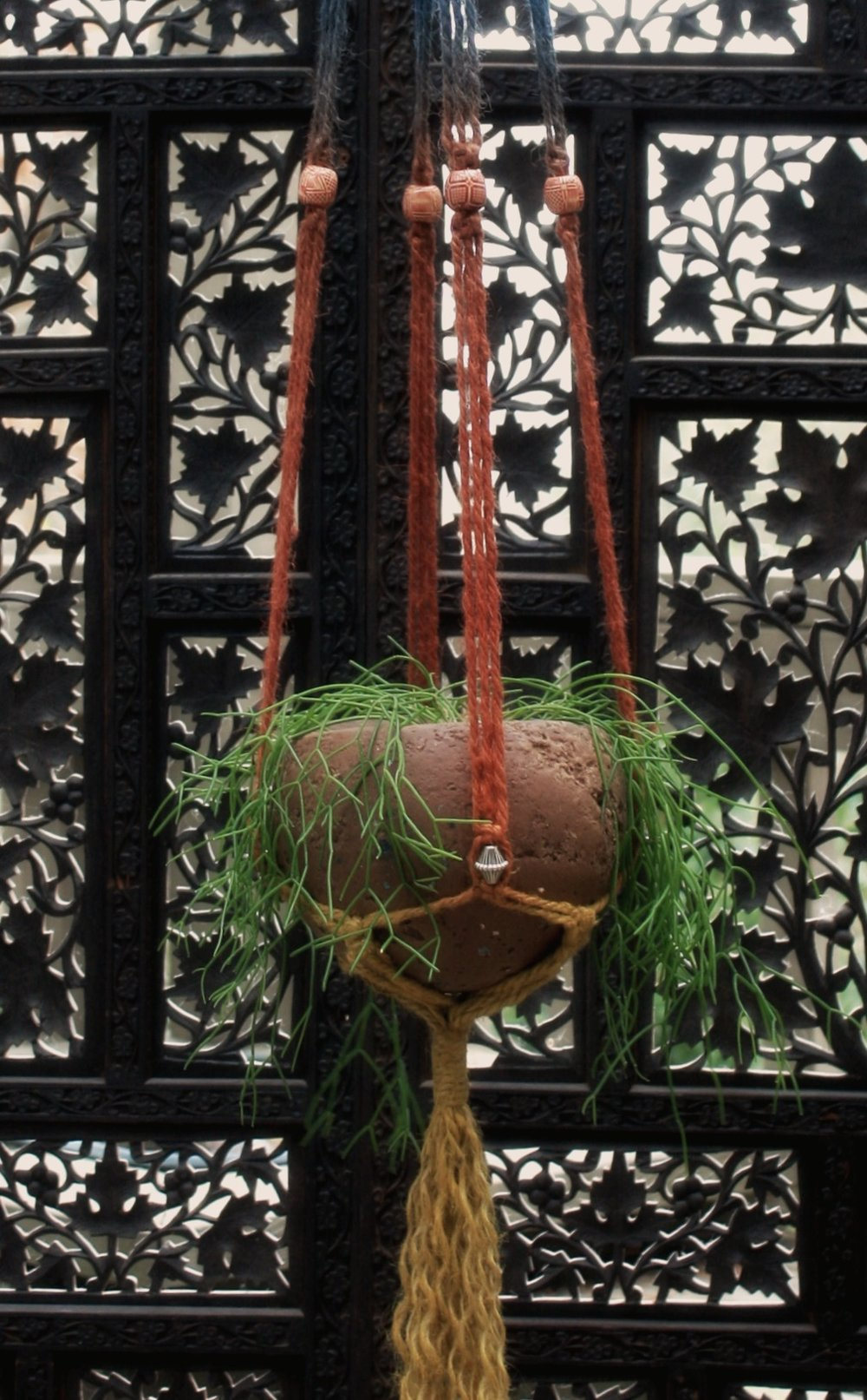 "Blue, rust and gold ombre plant hanger w/ 6"" hypertufa sphere planter."
