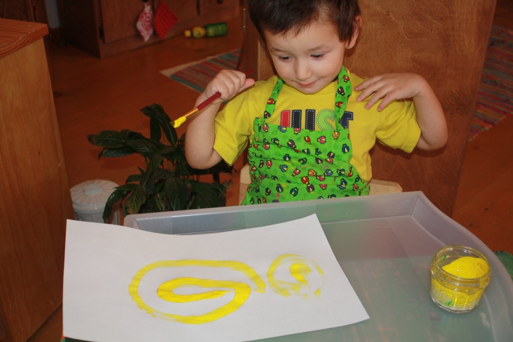 "Success with paint! ""I made yellow!"""