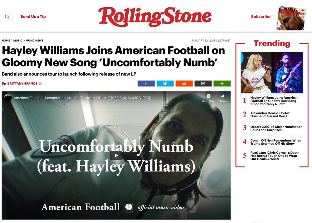 "MORE ACTING NEWS: Thank you Rolling Stone! Almost 300K views! Proud to play a medic in the tragic and beautiful new video for  American Football 's ""Uncomfortably Numb"" featuring Paramore's Hayley Williams. The hype around this is well deserved. Watch it here:  https://www.youtube.com/watch?v=CaZUVZ2F_Dc&fbclid=IwAR0SMOJ0r1x5Vvk-5J4q1xZG9LjOq5qJqF262SgycZ9EhO9gYEF_9noNz2I"