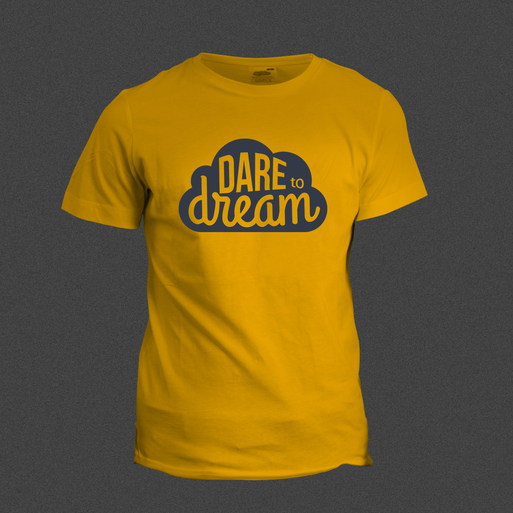 "The T-shirt pictured features a logo for  the  Dare to Dream Conference at Redemption. The typefaces utilized within the shape are all custom, hand-drawn fonts, tightly arranged to fill the space. The concept I was attempting to illustrate was, ""Dream Big."""