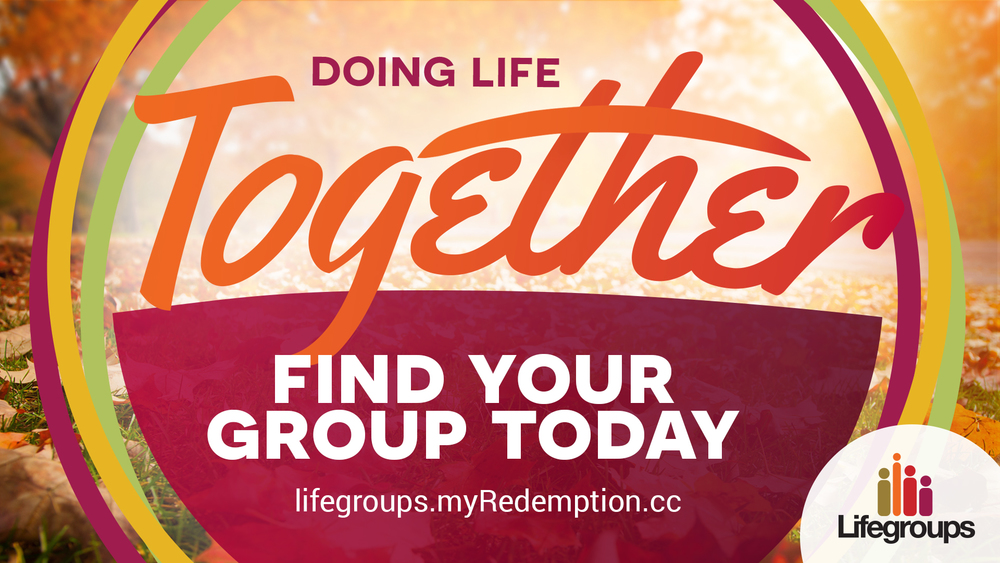 "For this Lifegroups advertisement I utilized an autumn color scheme and a background image I had taken of the fallen leaves last year. The typeface used for ""Together"" is hand-drawn and gives the piece contrast against the more rigid elements of the design, like the subtext and the logo."