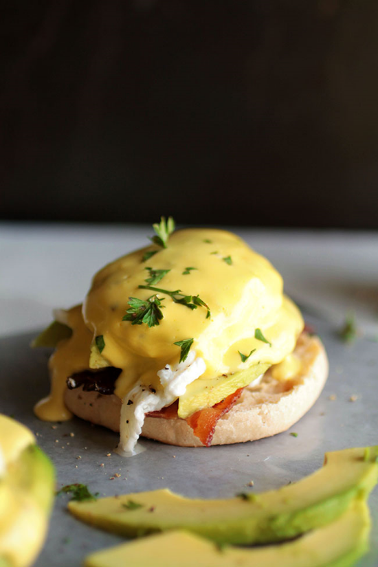 English Muffin + Goat Cheese + Bacon + Poached Egg + Hollandaise = my mouth is watering and I need to make this.