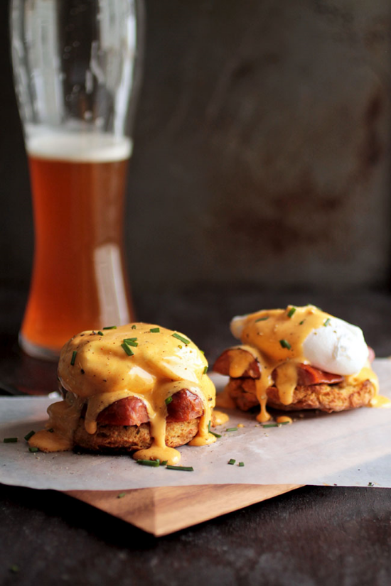 On a biscuit, with andouille sausage & hollandaise with a kick.