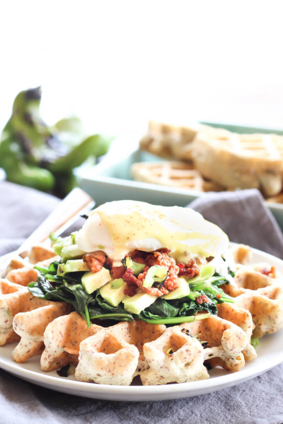 Chiles in waffles, chorizo, avocado & spinach flips this Eggs Benny on its head. And I can't wait to try it.