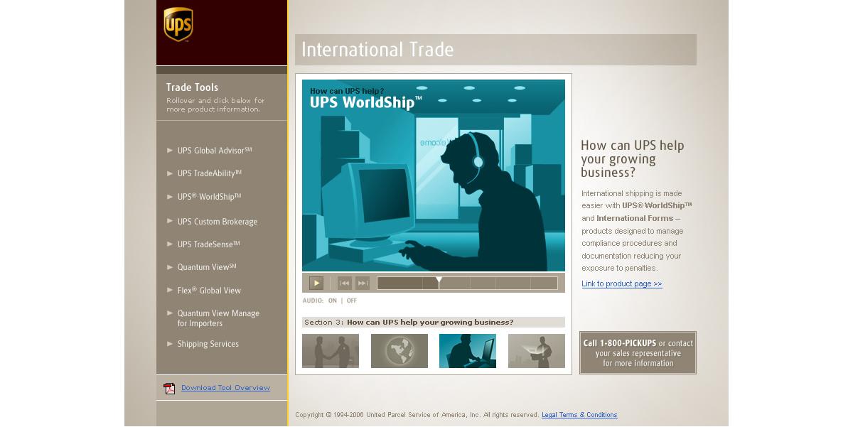 ups international trade demo frame design