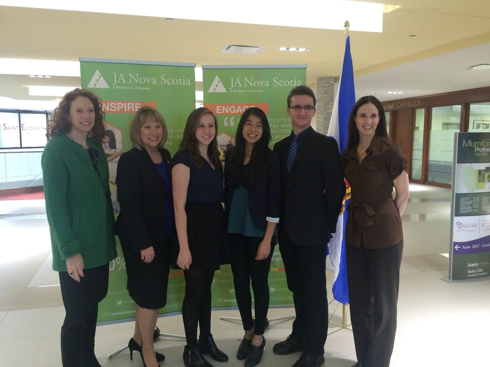 Left to right: Wendy Brookhouse; Chair of JA Nova Scotia Board of Directors, Minister Kelly Regan, Lori Anthony; JA Alumni, Maria Fernanda Cano; JA Alumni, Connor Fullerton; JA Alumni and Kristin Williams, President & CEO of JA Nova Scotia