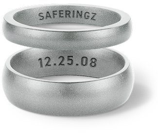 Interior text gives your SafeRingz a personal touch. Include a special date or word as a reminder of your love.