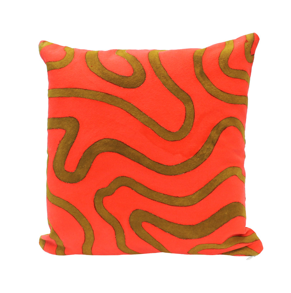 """Magma"" Hand-Painted Silk Pillow"