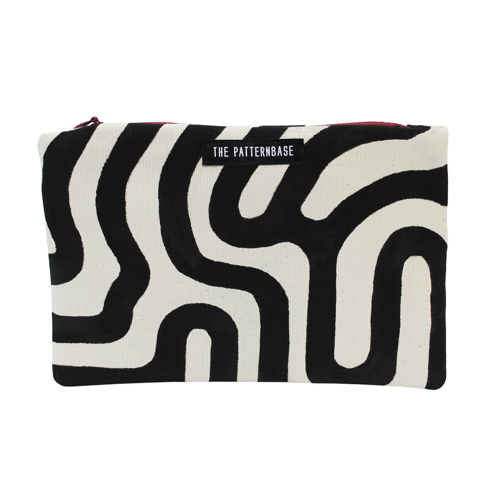 """Labyrinth (Black)"" Hand-Painted Accessories Bag"