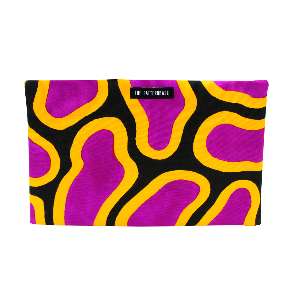 """Osmosis (Magenta)"" Hand-Painted Accessories Bag"