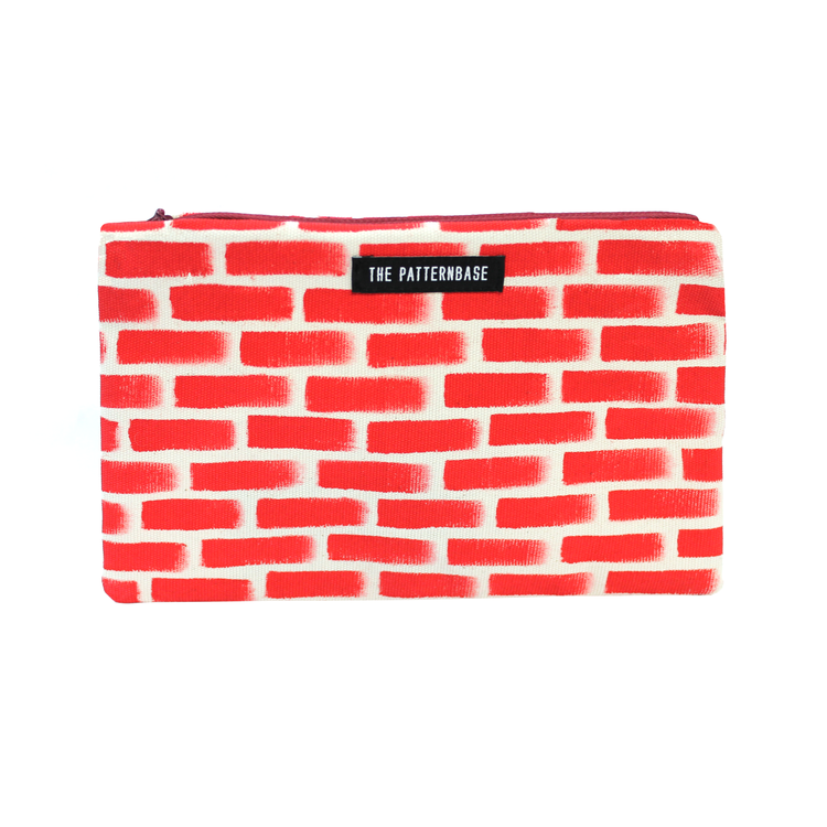 """Bricks"" Hand-Painted Accessories Bag"